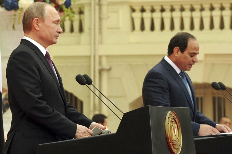 Putin and Sisi said they were both committed to fighting the 'threat of terrorism' in their respective countries [Reuters]