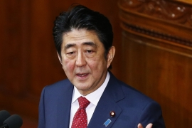 Japan's PM Abe delivers his policy speech at the lower house of parliament in Tokyo [Reuters]