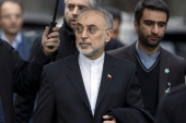 Ali Akbar Salehi, head of Iran's Atomic Energy Organisation, following a bilateral meeting with US officials in Geneva [EPA]