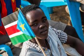 Thousands of people gathered at a political rally in South Sudan's capital Juba on Wednesday.