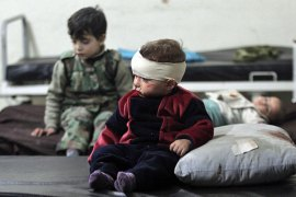 Only field emergency clinics respond to injuries resulted from government air strikes in besieged areas [Reuters]