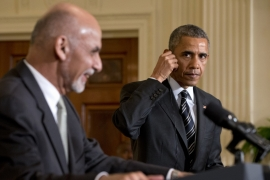 Obama said the US force would be kept at its current strength to train and assist Afghan forces [AP]