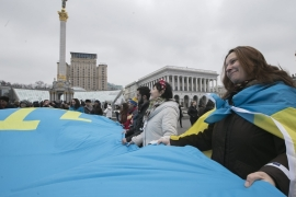 Crimean Tatars mark the first anniversary of annexation of Crimea by Russia on the Independence Square in Kiev, Ukraine [EPA]