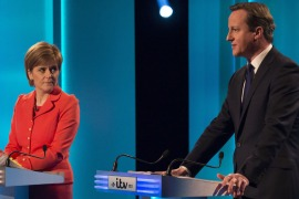 Scottish National Party leader Nicola Sturgeon and British prime minister and Conservative leader David Cameron take part in the ITV Leaders'' Debate 2015 at MediaCityUK studios [Getty Images]