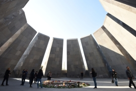 People visiting the Armenian 'Genocide' Memorial in Yerevan [AFP]