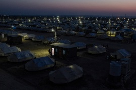 Laylan camp, located 20km south of Kirkuk, was built by UNHCR and the municipality of Kirkuk with around 1,500 tents. Approximately 8,500 people live in the camp. [Hawre Khalid/Metrography/Al Jazeera]