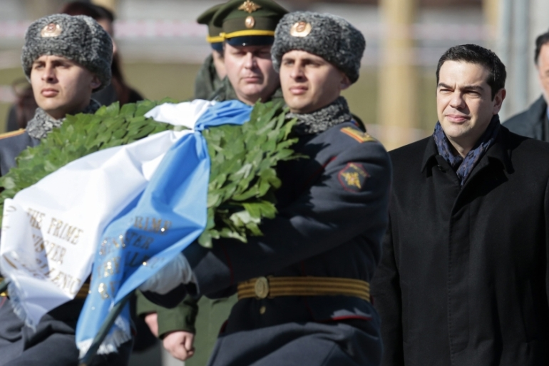 Greek PM Alexis Tsipras attends a wreath-laying ceremony at the Tomb of the Unknown soldier in Moscow, Russia [EPA]