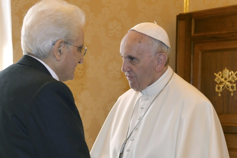 Francis met with Sergio Mattarella, the Italian president, and appealed for more international assistance [Pool photo via Reuters]