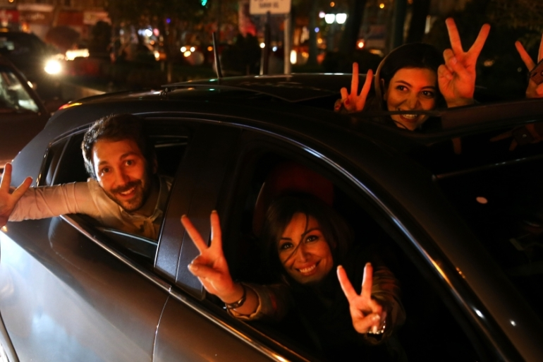 Iranians around the country celebrated following the deal [AP]