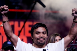 The Filipino boxer delighted hundreds of loyal fans at a rally in Sin City [AP]