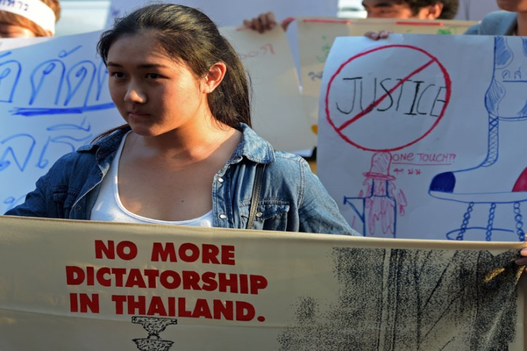 Dozens of students protested in Bangkok in the latest rally in defiance of martial law in the junta-ruled nation [PORNCHAI KITTIWONGSAKUL/AFP/Getty Images]
