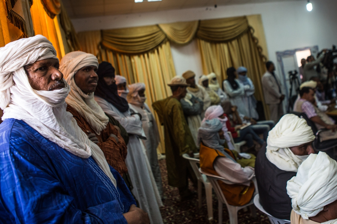 Tuareg tribal leaders recently met in Ghat with a representative of the Tripoli-based government, in an effort to address issues of local governance. [Mauricio Morales/Al Jazeera]
