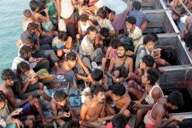 Thousands of Rohingya migrants are feared trapped in boats after fleeing Myanmar [AFP]
