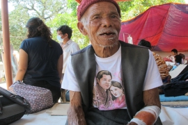 Fulche Tamang, 101, recovers at the Nuwakot district hospital [Annette Ekin/Al Jazeera]