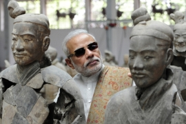 Indian Prime Minister Narendra Modi visits the Emperor Qinshihuang's Mausoleum Site Museum in Shaanxi Province [AP]