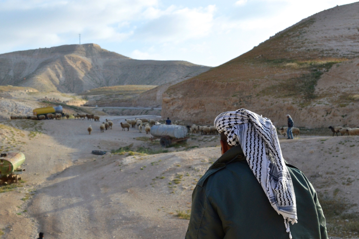 Last year, residents in Sateh al-Bahr lost four tents to the Israeli authorities. Daily life is filled with uncertainty, with the situation especially dire for shepherds who depend on access to large pastures. [Fredrik Brogeland Laache/Al Jazeera]