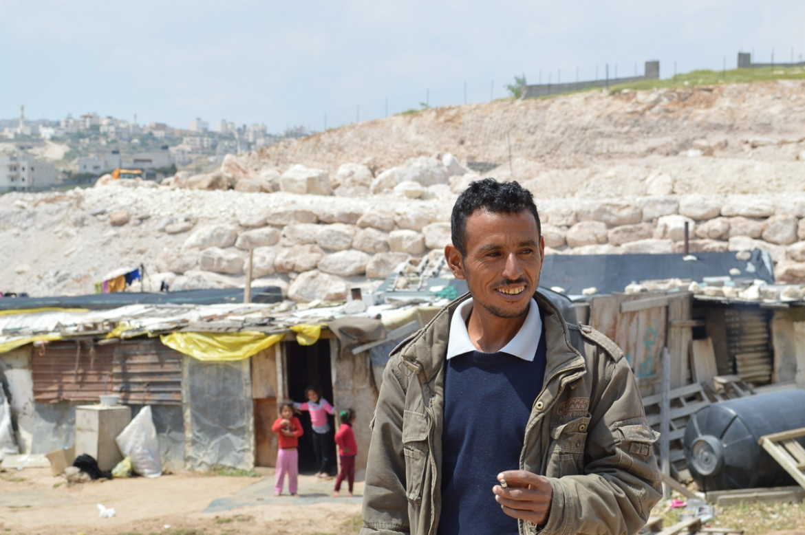 About 20km east of Sateh al-Bahr, the pressure against the Bedouins is more evident. Mahmoud lives next to the construction site in al-Jabal, where the Israelis plan to transfer some of the 7,000 Bedouins. [Fredrik Brogeland Laache/Al Jazeera]