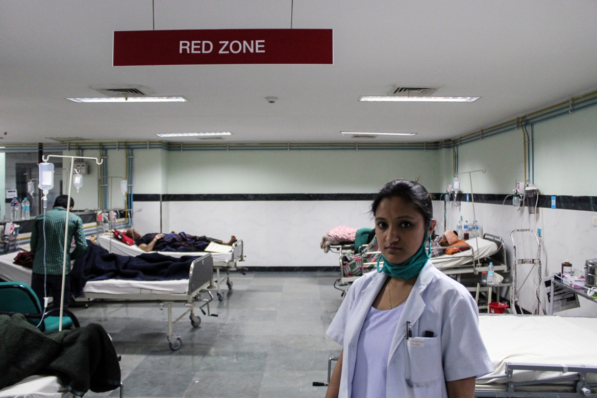 Lila Niroula, 34, BIR hospital National Trauma Centre in Kathmandu: 'The earthquake came on Saturday, which was a holiday. I had to report to work due to this and when I reached the hospital, I was shocked. I have never seen such devastation in my life. Thousands of people and journalists had queued in the hospital. I froze for the first few minutes and did not know how to deal with all of this. It was something out of a movie. It was only after 10 minutes that I slowly started working and helping in treating those who needed immediate help.' [Showkat Shafi/Al Jazeera]