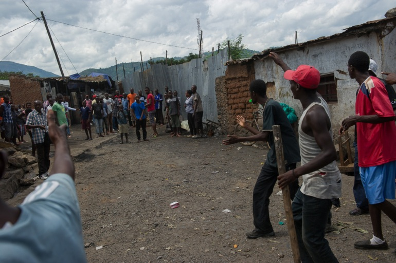 Protesters warn off the Imbonerakure, the youth wing of the ruling party, which have been linked with militia activities. [Phil Moore/Al Jazeera]