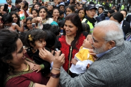 Indian Prime Minister Narendra Modi greets Indians in central Seoul, South Korea [Reuters]