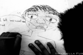 A child's drawing at the Teddy Bear Clinic for Abused Children in Johannesburg, April 2003 [Mariella Furrer]