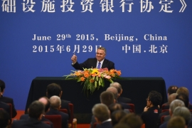 Australia became the first country to sign the document in the Great Hall of the People in Beijing [AFP]