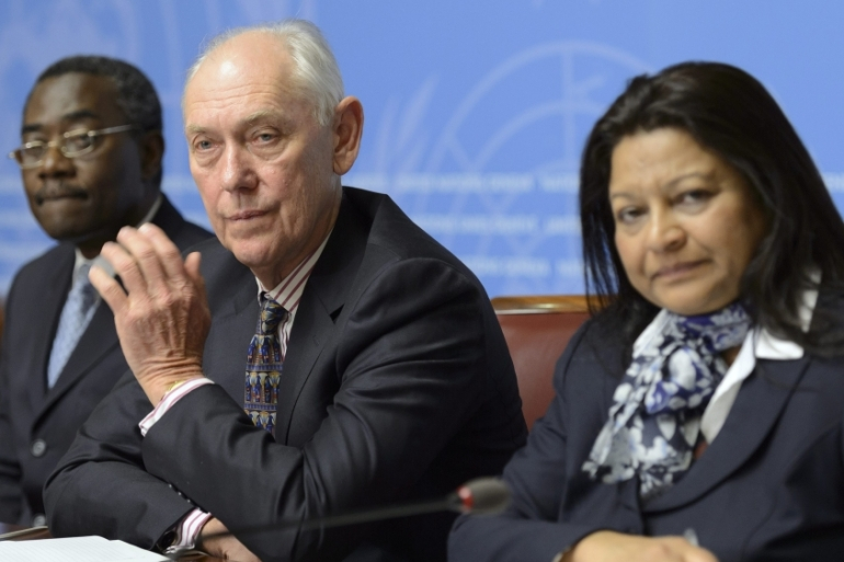 The UN commission started a two-day testimony before the Geneva-based council on Tuesday [EPA]