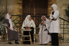 Palestinian women perform in a play in Gaza City in 2012 [AFP]