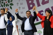 Selahattin Demirtas, HDP co-chairman, during a gathering to celebrate the party's victory in Istanbul [REUTERS]