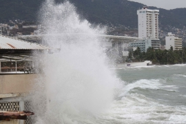 Heavy seas rolled into Acapulco well ahead of Hurricane Carlos which is still around 135km away [EPA]