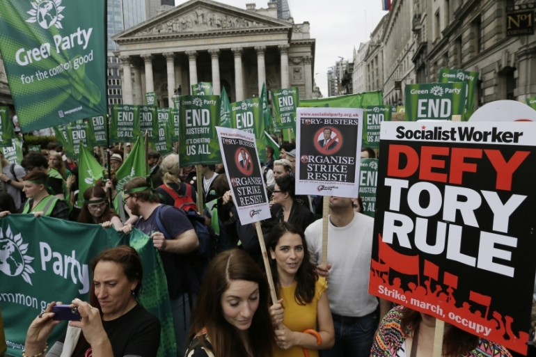 The protest organisers said the march was the start of a campaign of protest, strikes, direct action and civil disobedience [AP]