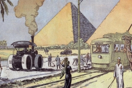 View of Giza pyramids in Egypt, illustration by Eugene Damblans from French paper 'Le Pelerin', 1933 [Getty]