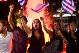 Greeks celebrate the result of the July 5 referendum [Simon Marks/Al Jazeera]