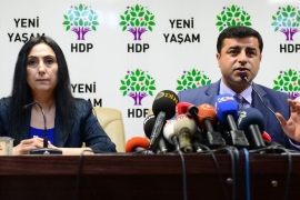 HDP co-chair Demirtas (R) strongly rebuked pro-AK party media for trying to link the HDP with violence, writes Barchard [Getty]