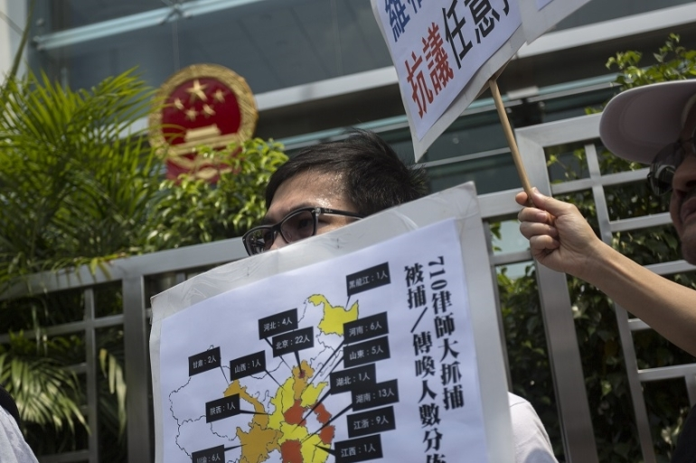 Activists in Hong Kong have protested against the crackdown [EPA]