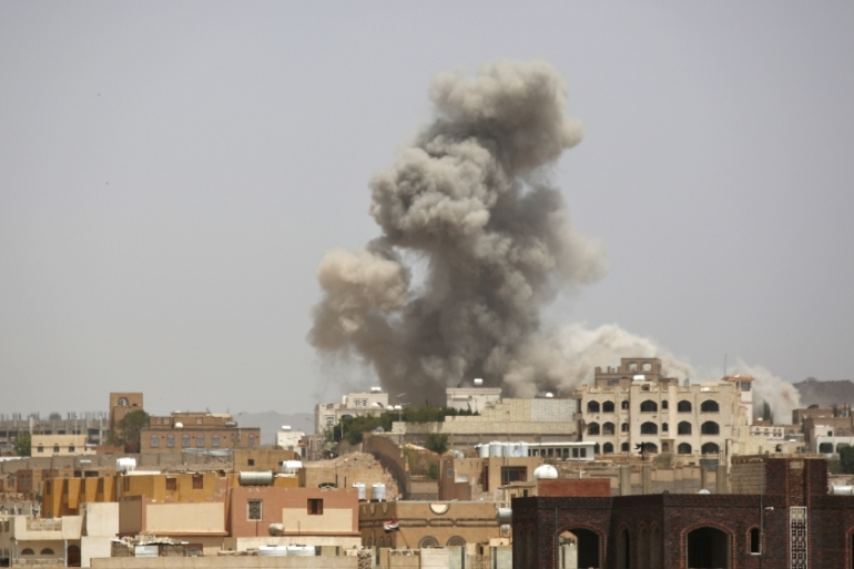 The coalition has been bombarding Houthi fighters and allied army units since March [AP]