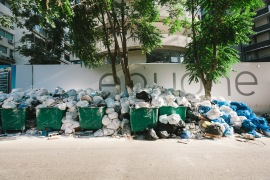 All across Beirut and the nearby area of Mount Lebanon, garbage piled up as trash collection was stopped for over a week. [Karim Mostafa/Al Jazeera]