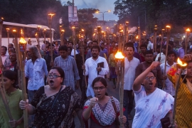 Hundreds of activists marched on Saturday to decry the culture of impunity in the country [Mahmud Hossain Opu/Al Jazeera]