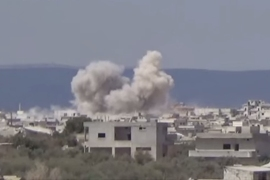 Online footage showed rebels firing rockets into the mainly Shia village of Kafraya [via YouTube]