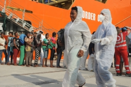 The overcrowded vessel was believed to have had more than 600 migrants onboard when it began the perilous journey [AP]