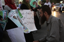 Khader Adnan, who was freed last month after his own hunger strike, has been taking part in protests to support Mohammed Allaan [Ylenia Gostoli/Al Jazeera]