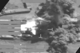 A handout image released by the British Ministry of Defence shows a screengrab of a video of a coalition air attack [File: British Ministry of Defence/EPA]