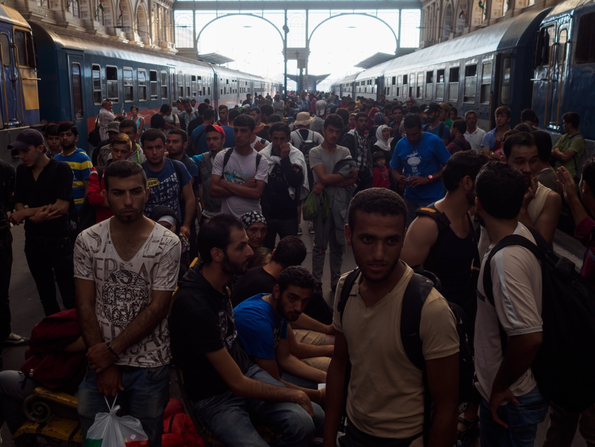 Refugees remained stranded inside the train station throughout the day. [Lazar Simeonov/Al Jazeera]