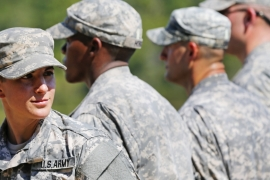 For now, women are still barred from serving in Ranger combat units [John Bazemore/AP]