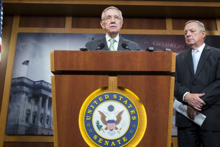 Senate Minority Leader Harry Reid hailed the failed vote to advance debate on a nuclear agreement with Iran [Reuters]