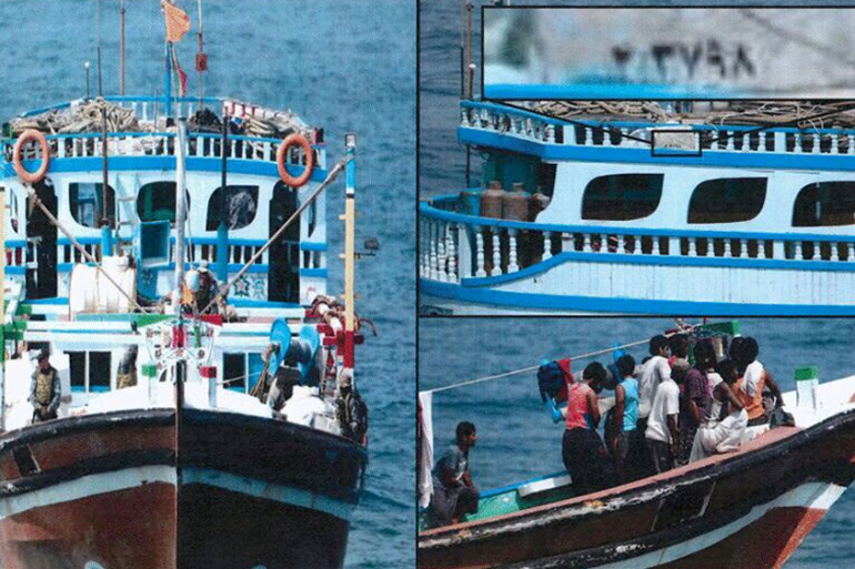 Photo purportedly showing Iranian arms boat intercepted by the Arab coalition en route to Yemen [Reuters]