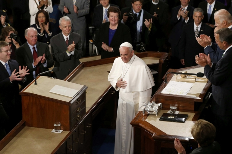 The 78-year-old Argentine pope also addressed the issue of immigration, which has sharply divided politicians in the US [Reuters]