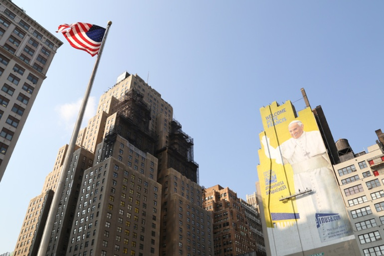 A Manhattan mural of Pope Francis will greet him upon his arrival in New York [Walter McBride/Getty Images]