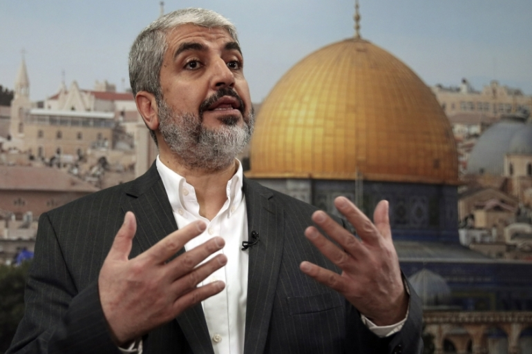 Hamas leader Khaled Meshaal speaks during an interview with Reuters in Doha October, 2014 [Reuters]