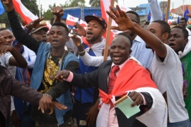 Congolese protesters are demanding that Denis Sassou Nguesso not extend his presidential term [AP]